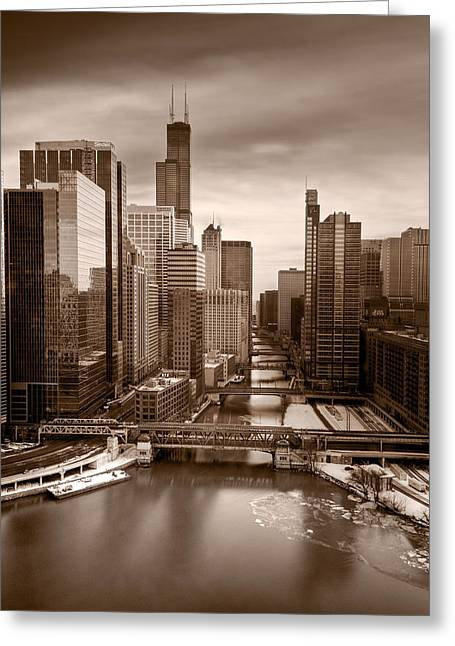 Points Greeting Cards - Chicago City View Afternoon B and W Greeting Card by Steve Gadomski