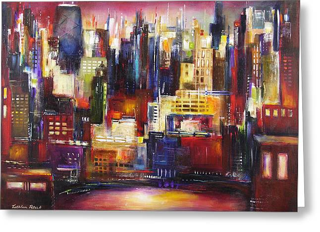 Chicago Paintings Greeting Cards - Chicago City View Greeting Card by Kathleen Patrick