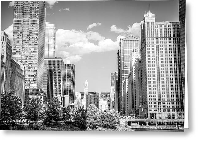 United Airline Greeting Cards - Chicago Cityscape Black and White Picture Greeting Card by Paul Velgos
