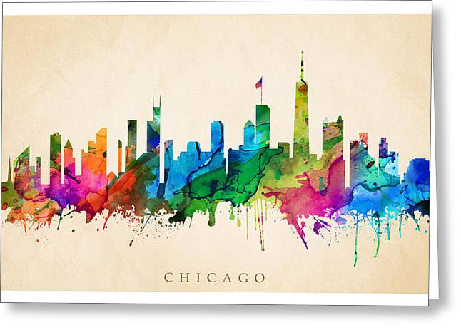 Steve Will Greeting Cards - Chicago Cityscape Greeting Card by Steve Will