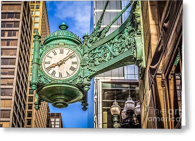 Hdr Photos Greeting Cards - Chicago Clock HDR Photo Greeting Card by Paul Velgos