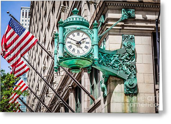 Editorial Photographs Greeting Cards - Chicago Clock on Macys Marshall Fields Building Greeting Card by Paul Velgos