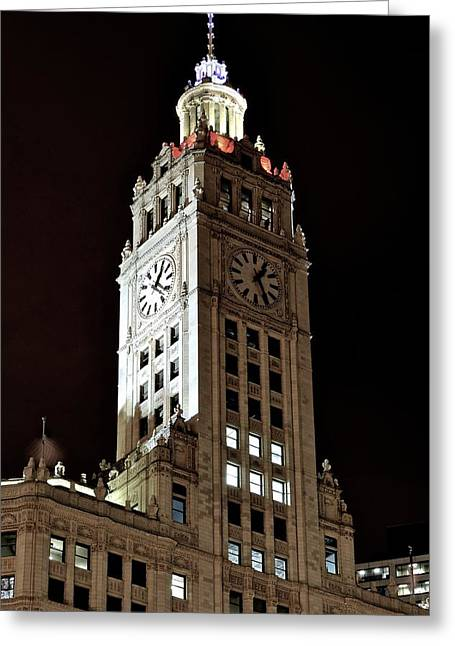 Town Clock Tower Greeting Cards - Chicago Clock Tower Greeting Card by Frozen in Time Fine Art Photography