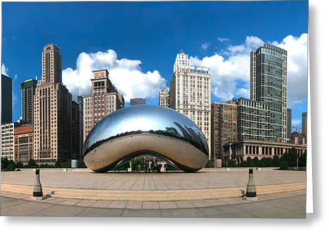 The Bean Greeting Cards - Chicago- Cloud Gate Panoramic Greeting Card by Randy Smith