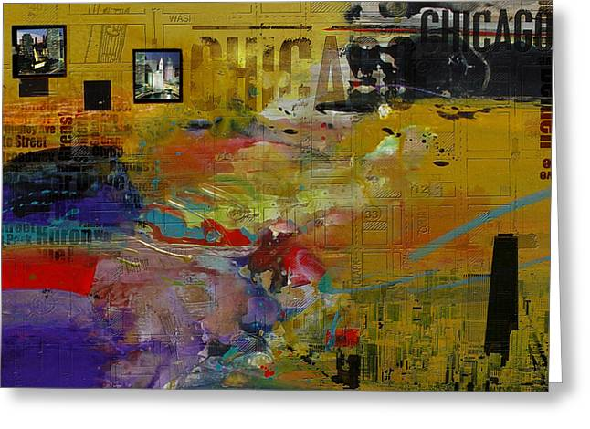 Lounge Paintings Greeting Cards - Chicago Collage 2 Greeting Card by Corporate Art Task Force