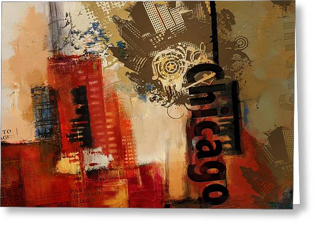 Lounge Paintings Greeting Cards - Chicago Collage Alternative Greeting Card by Corporate Art Task Force