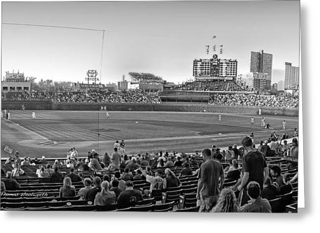 Chicago Cubs 5 Minutes Till Game Time Greeting Card by Thomas Woolworth