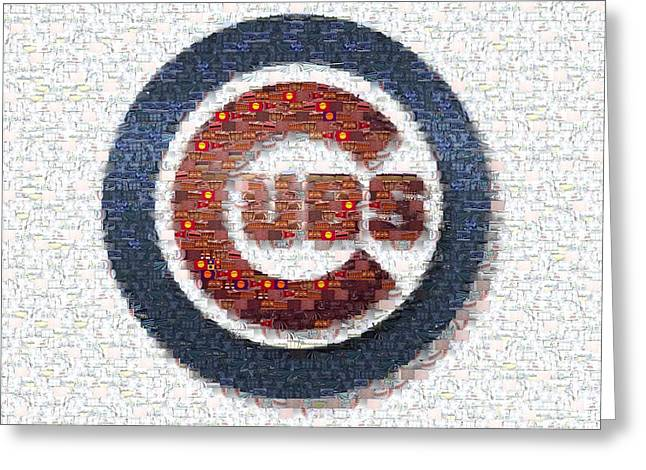 Chicago Wrigley Field Greeting Cards - Chicago Cubs Mosaic Greeting Card by David Bearden