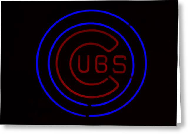 Sports Memorabilia Greeting Cards - Chicago Cubs Neon Sign Greeting Card by Emily Enz
