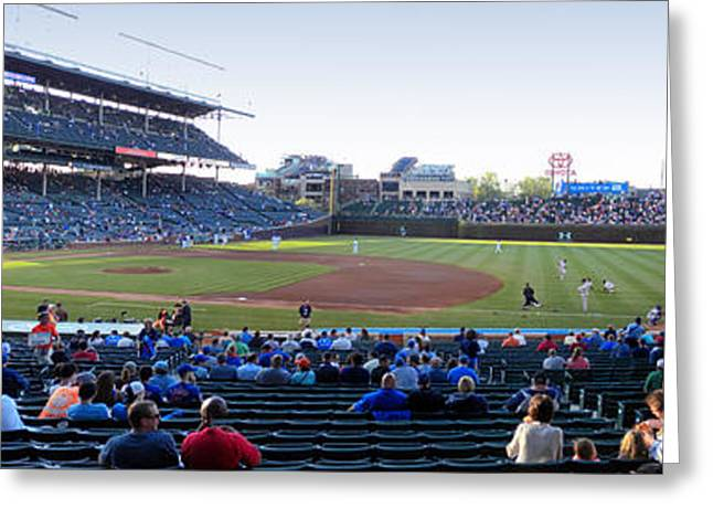 Division Greeting Cards - Chicago Cubs PreGame Time Panorama Greeting Card by Thomas Woolworth