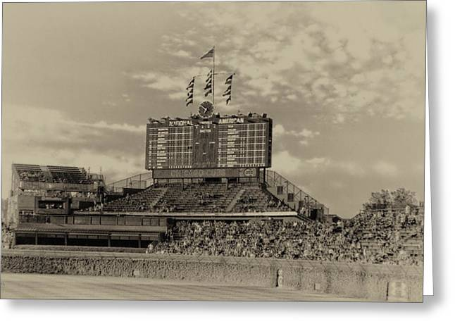 Chicago Cubs Scoreboard In Heirloom Finish Greeting Card by Thomas Woolworth