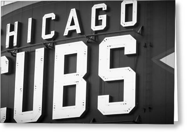 Chicago Cubs Stadium Greeting Cards - Chicago Cubs Sign Panoramic Picture Greeting Card by Paul Velgos