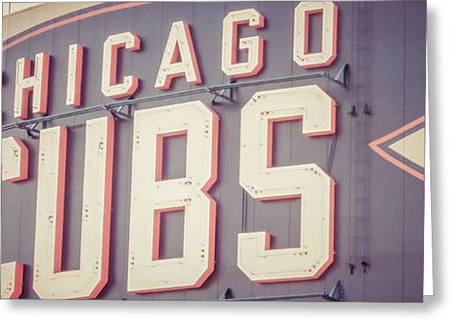 Wrigley Field Greeting Cards - Chicago Cubs Sign Vintage Panoramic Picture Greeting Card by Paul Velgos