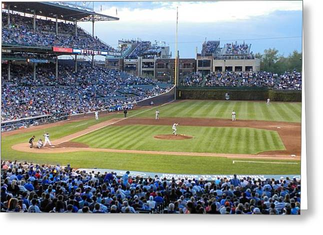 Baseball Game Greeting Cards - Chicago Cubs Up To Bat Greeting Card by Thomas Woolworth