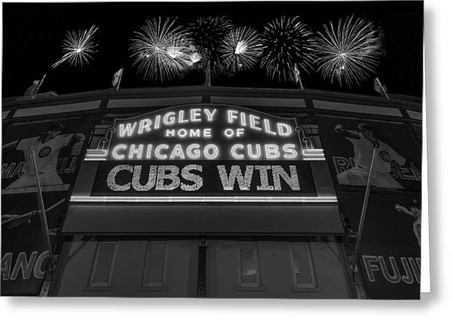 Chicago Cubs Greeting Cards - Chicago Cubs Win Fireworks Night B W Greeting Card by Steve Gadomski