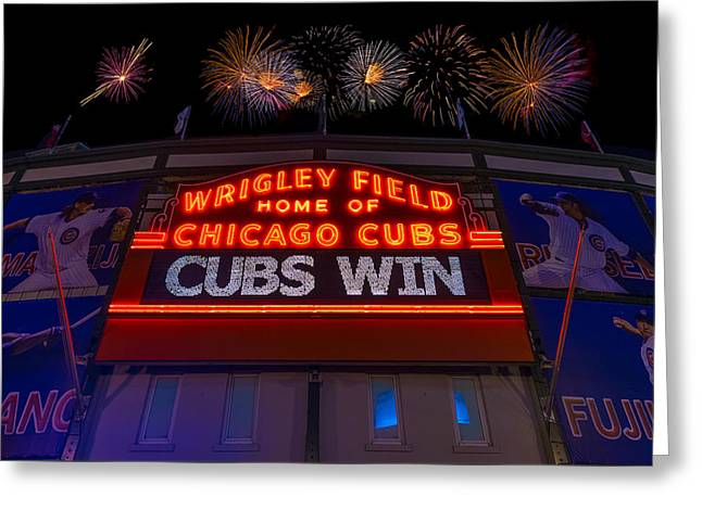 Firework Greeting Cards - Chicago Cubs Win Fireworks Night Greeting Card by Steve Gadomski
