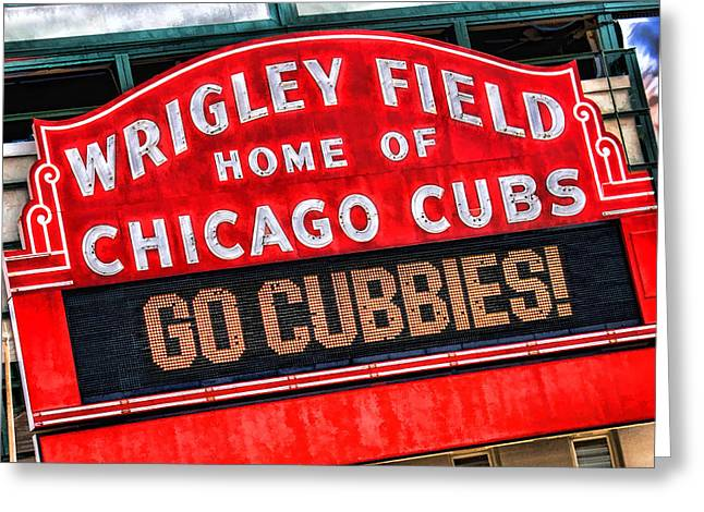 Wrigley Field Greeting Cards - Chicago Cubs Wrigley Field Greeting Card by Christopher Arndt
