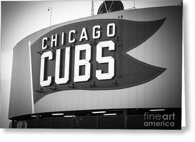 Sports Fields Greeting Cards - Chicago Cubs Wrigley Field Sign Black and White Picture Greeting Card by Paul Velgos