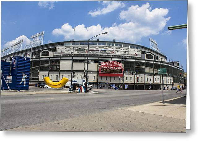 Chicago Wrigley Field Greeting Cards - Chicago Cubs Wrigley  Greeting Card by John McGraw