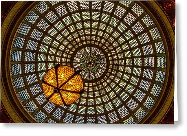 Glass Work Greeting Cards - Chicago Cultural Center Dome Greeting Card by Mike Burgquist