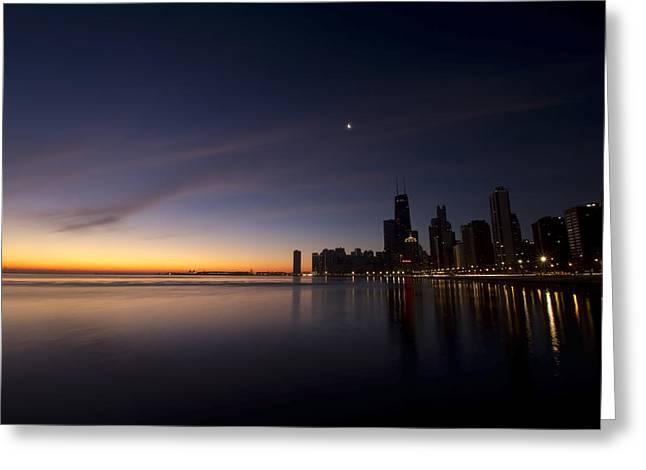 Lake Michgan Greeting Cards - Chicago Dawn 2 Greeting Card by Sven Brogren
