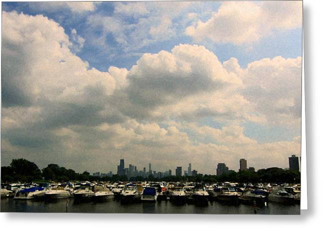 Boats In Harbor Greeting Cards - Chicago - Diversey Harbor Greeting Card by Greg Thiemeyer