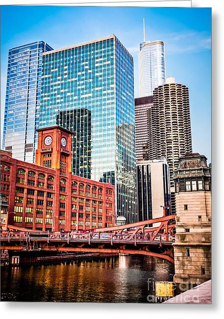 Clock Greeting Cards - Chicago Downtown at LaSalle Street Bridge Greeting Card by Paul Velgos