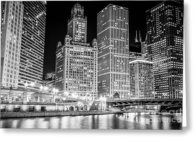 Wacker Drive Greeting Cards - Chicago Downtown at Night Black and White Picture Greeting Card by Paul Velgos
