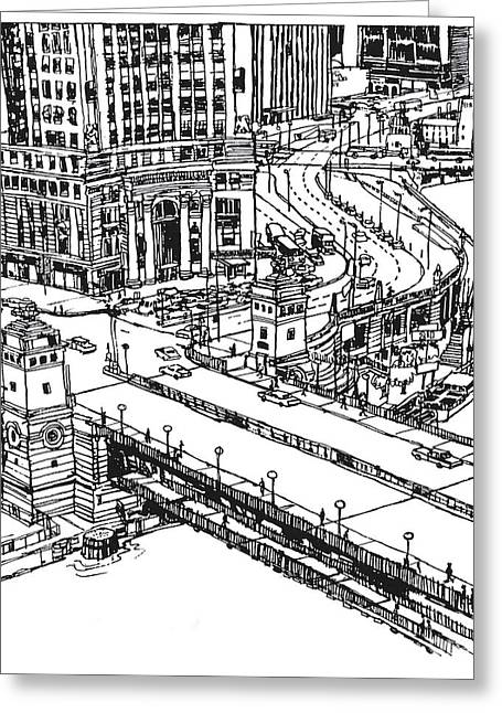 Downtown Drawings Greeting Cards - Chicago Downtown view of Michigan Ave. and Wacker Dr. Greeting Card by Robert Birkenes