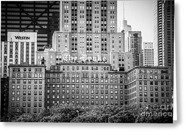 Drake Greeting Cards - Chicago Drake Hotel in Black and White Greeting Card by Paul Velgos