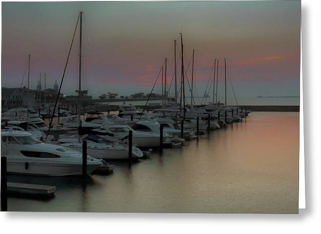 Sailboats At The Dock Greeting Cards - Chicago - DuSable Harbor Greeting Card by Greg Thiemeyer