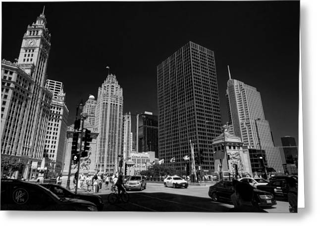 East River Drive Greeting Cards - Chicago - E Wacker Drive Greeting Card by Lance Vaughn