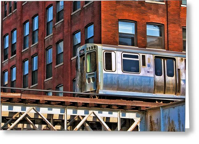 Transit Greeting Cards - Chicago El and Warehouse Greeting Card by Christopher Arndt
