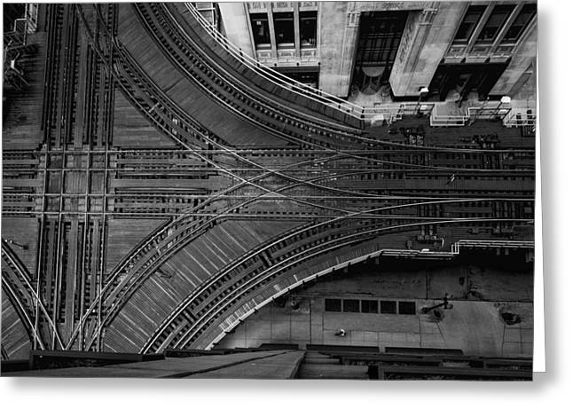 Metra Greeting Cards - Chicago El Tracks Greeting Card by Mike Burgquist