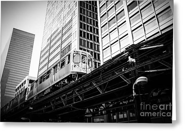 Elevated Greeting Cards - Chicago Elevated L Train in Black and White Greeting Card by Paul Velgos