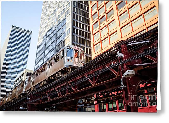 Elevated Greeting Cards - Chicago Elevated L Train with Downtown Buildings Greeting Card by Paul Velgos