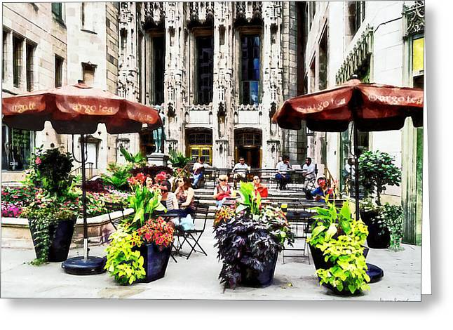 Michigan Ave Greeting Cards - Chicago - Enjoying Lunch on the Magnificent Mile Greeting Card by Susan Savad