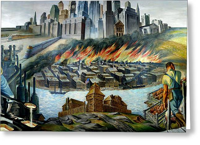 Wpa Prints Greeting Cards - Chicago - Epoch of a great city Greeting Card by Pg Reproductions