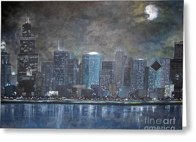 Windy City Mixed Media Greeting Cards - Chicago Evening Blues Greeting Card by Amanda Baumgartner
