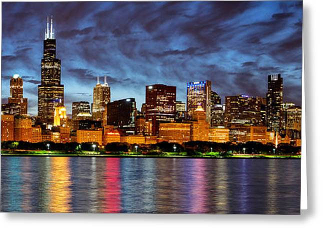 City Lights Greeting Cards - Chicago Evening Reflections 2014 Greeting Card by Matt Hammerstein