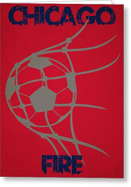 Goal Kick Greeting Cards - Chicago Fire Goal Greeting Card by Joe Hamilton