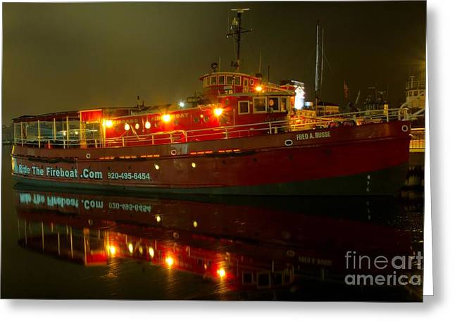Fireboat Greeting Cards - Chicago Fireboat Greeting Card by Nikki Vig