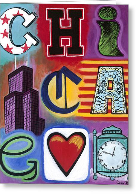 Carla Bank Greeting Cards - Chicago Flag Greeting Card by Carla Bank