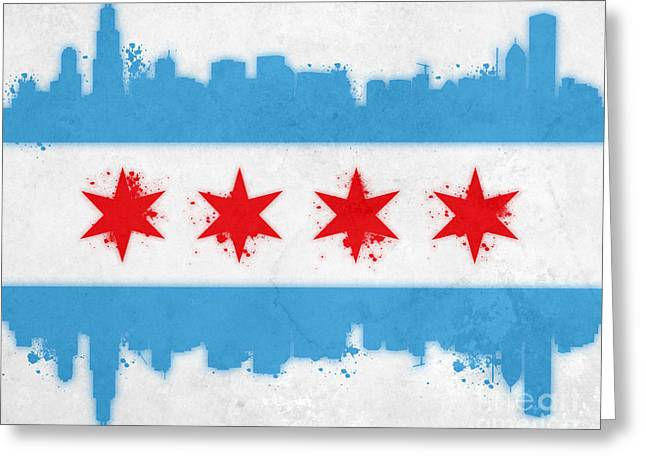 Chicago Skyline Art Greeting Cards - Chicago Flag Greeting Card by Mike Maher