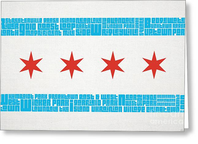 Spray Paint Art Greeting Cards - Chicago Flag Neighborhoods Greeting Card by Mike Maher