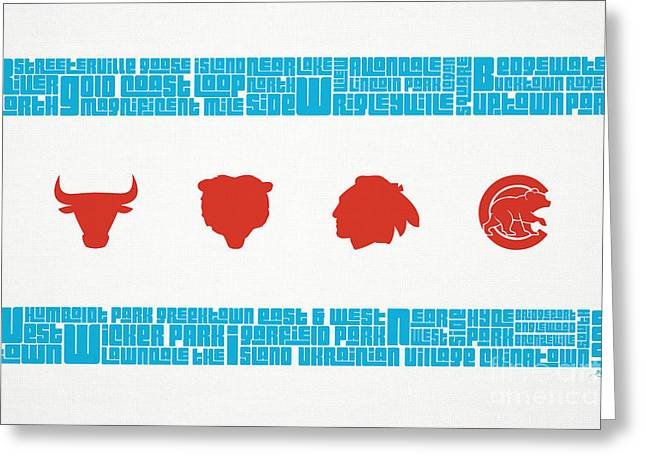 Typography Greeting Cards - Chicago Flag Sports Teams Greeting Card by Mike Maher