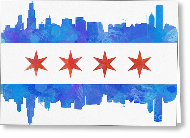 Chicago Skyline Art Greeting Cards - Chicago Flag Watercolor Greeting Card by Mike Maher