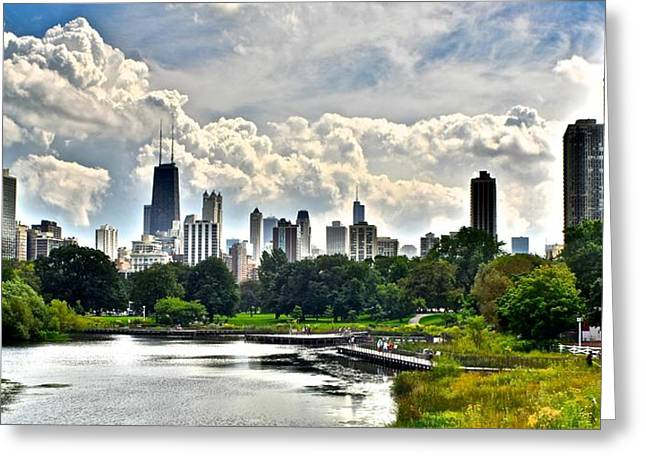 Observatory Greeting Cards - Chicago from Lincoln Park Greeting Card by Frozen in Time Fine Art Photography