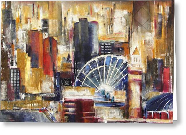 Chicago Paintings Greeting Cards - Chicago From Navy Pier Greeting Card by Kathleen Patrick