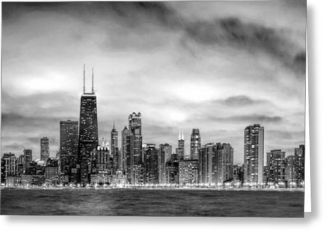 Skyline Paintings Greeting Cards - Chicago Gotham City Skyline Black and White Panorama Greeting Card by Christopher Arndt